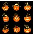 Set of halloween pumpkins with hat vector image vector image
