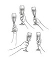 set of hands with champagne glasses vector image vector image