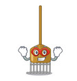 super hero cartoon rake leaves with wooden stick vector image vector image