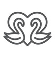 swans line icon romance and love swans and heart vector image vector image