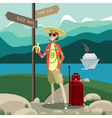 Tourist with traffic signs vector image vector image