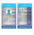ui mobile app page profile and sidebar menu vector image vector image