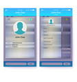 ui of mobile app page profile and sidebar menu vector image vector image