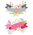 vintage flower banner with ribbon vector image vector image