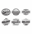 vintage organic products labels or emblems design vector image