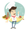 Funny chef standing in the kitchen showing OK-sign vector image