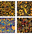 4 Seamless Patterns - Music Keys Locks Candles vector image