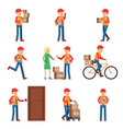 delivery worker in different action poses man vector image