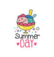 abstract summer badge or label with colorful ice vector image