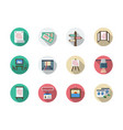 art gallery elements flat round icons set vector image vector image