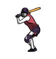 baseball girl player ready hit ball color vector image