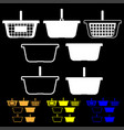 basket for shopping white orange yellow blue color vector image vector image