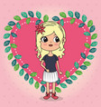 beautiful girl with heart floral frame kawaii vector image