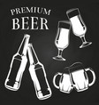 beer glasses bottles and mugs on chalkboard vector image vector image