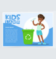 boy throwing bottle into green container with vector image vector image