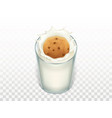 breakfast - glass with milk oatmeal cookie vector image