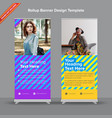 bright duotone rollup banner design with vector image