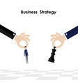 businessmanhands and king of chess symbol with vector image vector image