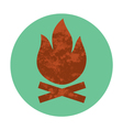 campfire textured flat icon vector image vector image
