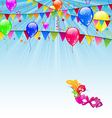 Carnival background with flags confetti balloons vector image vector image