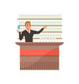 cheerful bartender at the bar counter with arm out vector image vector image