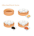 chinese steamed bun and stuff on bamboo basket vector image vector image