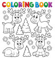 coloring book christmas deer topic 1 vector image vector image