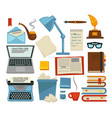 content writing equipments and objects laptop and vector image vector image