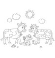 cow family walking vector image vector image