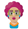 curly purple hair woman flat icon vector image