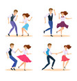 dancing couple swing dancers vector image