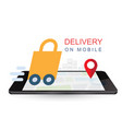 delivery on mobile online shopping concept vector image vector image