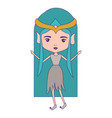 elf princess with blue long hair and dress with vector image