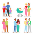 family people character woman man children vector image