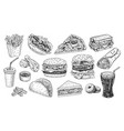 fast food hand drawn hamburger vector image