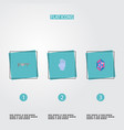 flat icons handgun gem gloves elements vector image vector image