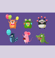 funny animal characters having fun at birthday vector image vector image