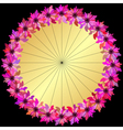 Gold round floral frame vector image vector image