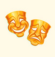 golden comic and tragic theater mask vector image