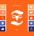 hands holding female uterus - protection symbol vector image
