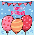 happy birthday balloon flag blue background vector image