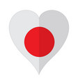isolated flag of japan on a heart shape vector image