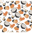 kitchenware seamless pattern saucepan with gloves vector image vector image