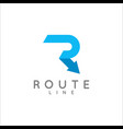 letter r logo arrow route concept on white vector image vector image