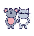 little cat and koala cartoon character on white vector image vector image
