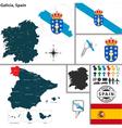 Map of Galicia vector image vector image
