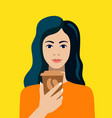 nice girl holds coffee in hand on yellow vector image vector image