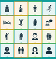 person icons set with friends jogging doing vector image