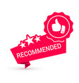 Recommended red icon with stars thumb up sales