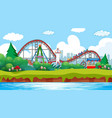scene with roller coaster and viking ship in the vector image vector image